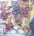 Якаў Палачанін (з узнятым над галавой мячом), удзельнік Неўскай бітвы 1240 г. (мініяцюра XVI ст.).jpg
