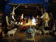 04567 Christmas nativity scene at the Franciscan church in Sanok, 2010.jpg