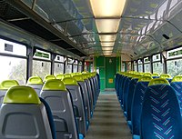 The refurbished interior of an Arriva Trains Wales Class 142