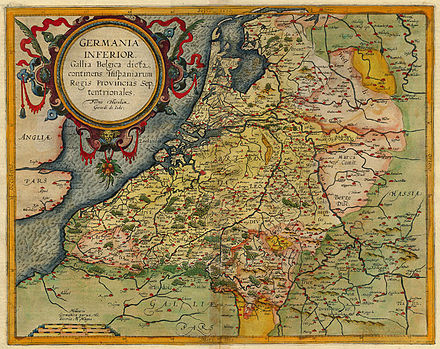Map of the Netherlands c. 1593 by Cornelis de Jode 1593 Germania Inferior de Jode.jpg