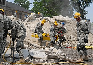 16th Engineer Brigade (United States) - 16th Engineer Brigade soldiers clearing a demolished building.