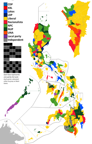 16th Congress of the Philippines - Current party standing. Party list seats are denoted by black and gray boxes to the left; Metro Manila seats are magnified on the inset at the right.