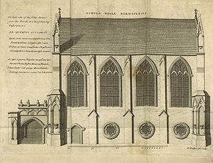 Norwich School (independent school) - Illustration of the Schola Regia Norwicensis, the former chapel of St John the Evangelist