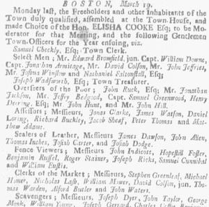 Boston Board of Selectmen - Newspaper item related to the Boston Select Men, 1733