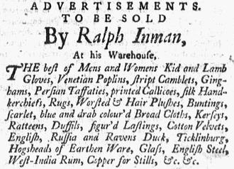 Ralph Inman - Image: 1760 Ralph Inman Boston Evening Post Sept 22