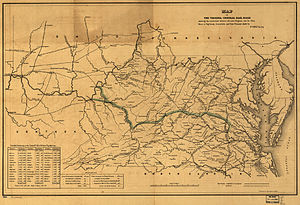 Covington and Ohio Railroad - Image: 1852 Map of the Virginia Central Railroad and Planned Construction