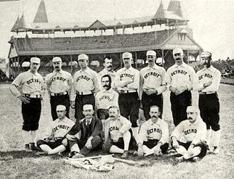 Detroit Wolverines - 1888 Detroit Wolverines, with Boston's South End Grounds as a backdrop