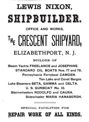 Crescent Shipyard -  An 1899 advertisement for the Crescent Shipyard