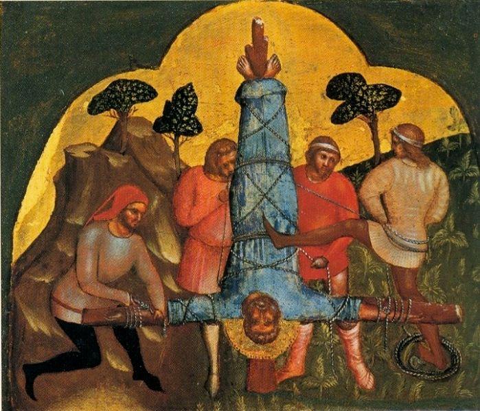 Crucifixion de l'apôtre Pierre sur le site du Vatican. Persécutions ordonnées par Néron. Peinture de Lorenzo Veneziano.