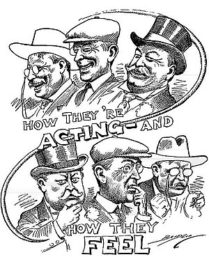 William Monroe Trotter - Political cartoon about the 1912 presidential election, depicting Theodore Roosevelt (cowboy hat), Woodrow Wilson (cap), and William Howard Taft (top hat)