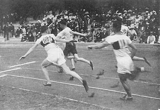 Athletics at the 1912 Summer Olympics – Men's 4 × 100 metres relay - Image: 1912 Athletics men's 4x 100 metre final