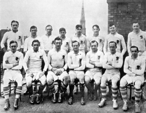Harold Harrison (rugby player) - The 1914 England team vs Scotland. Harrsion is sat third from left