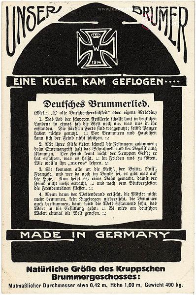 File:1917 circa Erster Weltkrieg Geschoss Granate Friedrich Krupp AG Mörser Dicke Bertha Lied Postkarte Fritz Thörner.jpg