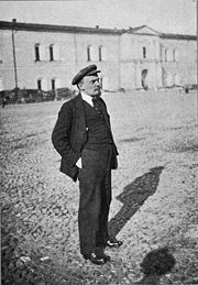 Lenin standing in the courtyard of the Kremlin in 1919.