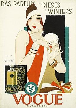 1926 1927 circa Jupp Wiertz Plakat Das Parfüm dieses Winters - Vogue, Firma F. Wolff & Sohn, Karlsruhe