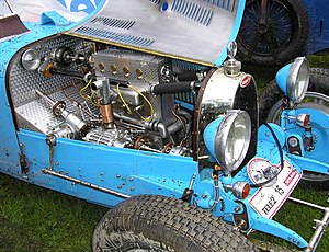 The engine bay of a 1929 Bugatti T 37 A.