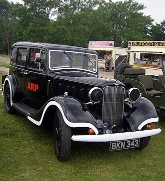 Hillman 16 - Hillman Sixteen in ARP Warden livery first registered January 1935