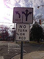 2014-12-30 11 24 32 Lane Turns directional sign and No Turn On Red sign at the south end of Sullivan Way (Mercer County Route 579) at the John Fitch Parkway (New Jersey Route 29) in Trenton, New Jersey.JPG