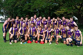 Australian rules football in Asia - Malaysian Warriors team pictured at the 2014 Asian Australian Football Championships at Clark Field, Philippines