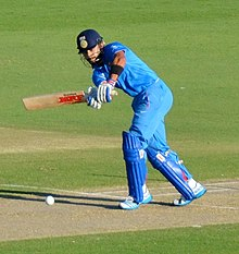 Virat Kohli attempts to play a delivery.