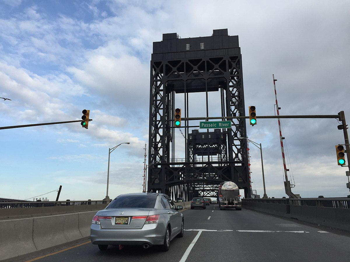 2016-03-12 16 01 36 View east along Communipaw Avenue (northbound on U.S. Route 1 Truck and U.S. Route 9 Truck) crossing the Passaic River lift bridge from Newark to Kearny, New Jersey.jpg