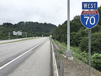 Interstate 70 in West Virginia - View west along I-70 in Wheeling, just after the interchange with I-470