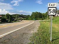 2017-07-23 18 44 53 View east along West Virginia State Route 58 at Interstate 79 (Jennings Randolph Highway) in Anmoore, Harrison County, West Virginia.jpg