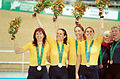 211000 - Cycling track Tania Modra Sarnya Parker Lynette Nixon Lyn Lepore gold silver medals podium - 3b - 2000 Sydney medal photo.jpg