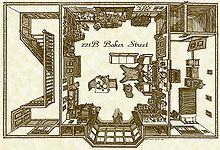 Overhead floor plan of Holmes's lodgings