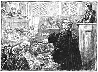 John Peter Zenger - The trial, as imagined by an illustrator in the 1883 book Wall Street in History