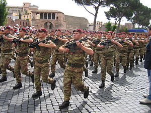 Paratroopers Brigade Folgore - 183rd Regiment parading in Rome on 2 June 2006