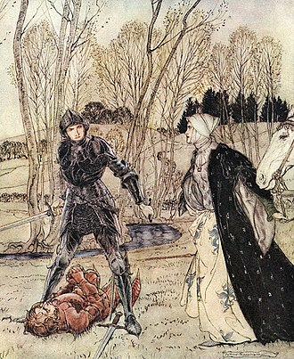 """Lynette and Lyonesse - Arthur Rackham: """"Sir Gareth battling the evil Red Knight while his Lady Lioness watches on"""" (1917)"""