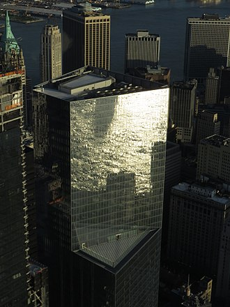 4 World Trade Center - 4 World Trade Center reflecting water of the Hudson River, viewed from One World Observatory in 2017
