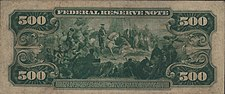 Series 1918 $500 bill, Reverse, depicting Hernando de Soto discovering the Mississippi River
