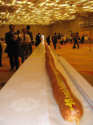 World's longest hot dog - The August 2006 record-setting world's longest hot dog, at 60 meters