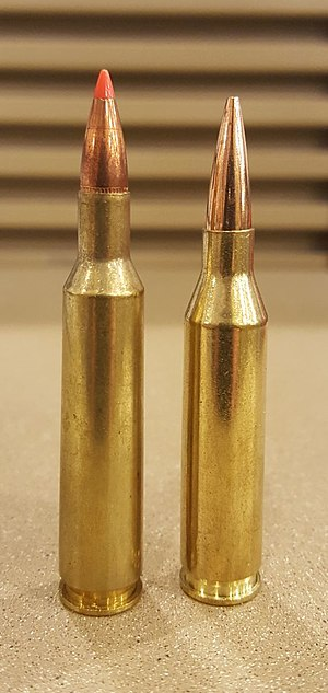 6mm Remington - 6mm Remington (left), .243 Winchester (right)