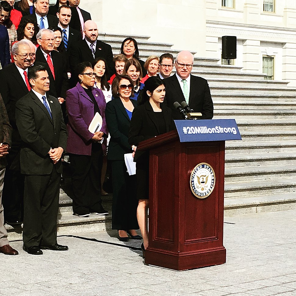 Congressional Democrats celebrating the 6th anniversary of the Affordable Care Act in March 2016 on the steps of the U.S. Capitol.
