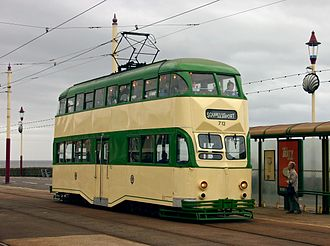 An un-modified double-decker English Electric Balloon tram on The Promenade at Bispham 712 at Bispham.jpg