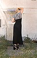 90s long black dress over a t-shirt with strappy wedges and tom ford sunnies - back.jpg