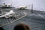 A-7E of VA-66 making barrier landing on USS Eisenhower (CVN-69) 1983.JPEG