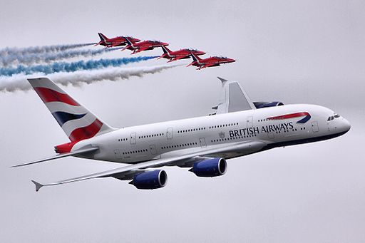 A380 & Red Arrows - RIAT 2013