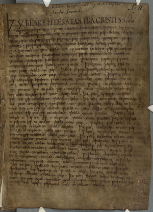 Anglo-Saxon Chronicle - A page from the Winchester, or Parker, Chronicle, showing the genealogical preface