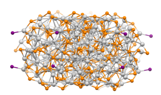 Nanocrystal - Nanoscale tertiary phosphine-stabilized Ag-S cluster prepared from molecular precursors. Color code: gray = Ag, violet = P, orange = S.