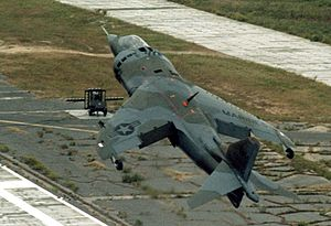 Marine Corps Auxiliary Landing Field Bogue - A VMA-231 AV-8A taking off from Bogue, in 1978.