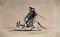 A Chinese soldier bearing weapons on his back, riding a horse Wellcome V0037646.jpg
