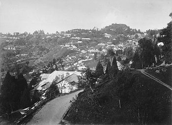 A hillside with houses having tiled roofs.