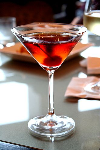 Manhattan (cocktail) - A Manhattan served in a cocktail glass
