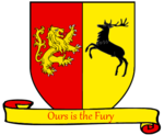 A coat of arms showing a gold on red lion and a black on gold crowned stag combatant.