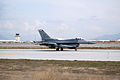 A U.S. Air Force F-16 Fighting Falcon aircraft assigned to Naval Air Station Joint Reserve Base Fort Worth, Texas, taxis after landing at Bagram Airfield, Parwan province, Afghanistan, March 7, 2014 140307-F-YY948-086.jpg