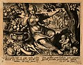 A female figure with bowls of fruit and a monkey; Eve picks Wellcome V0007683.jpg